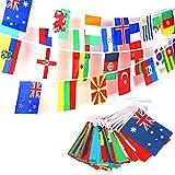 JZK 50 Metri 200 bandierine Nazioni Mondo Bandiere Nazionali Miste, Festone Bandiere in Tessuto, Striscione bandierine Decorazione Festa Giardino