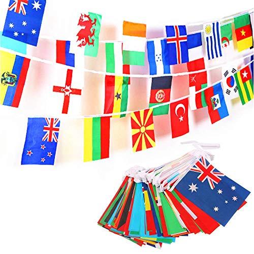 JZK 50 Meter 200 International Länderflaggen Fahnenkette Wimpelkette Flaggen Dekorationen für Bar, Sportvereine, Fußball-WM-Party, Party der Olympischen, Internationale Feierlichkeiten