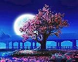 Pintar por numeros arbol rosa - pintura para pintar por números con pinceles y colores brillantes - cuadro de lienzo con numeros dibujados para adultos y niños