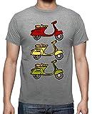 latostadora - Camiseta 3 Vespas para Hombre Gris vigoré L