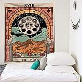 PPOU Tapiz de Mandala Tarot Tapiz de Cambio de Fase Lunar montado en la Pared Decoración de Dormitorio Sun Moon Beach Tapiz de Tela de Fondo A14 150x200cm