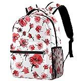 Mochila escolar personalizada para niños y niñas, diseño de flores rojas