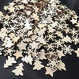 ZesNice Streudeko Weihnachten, 200 Stücke Holzsterne Blank Holz Scheiben Mini Verschönerungen für Handwerk Making DIY