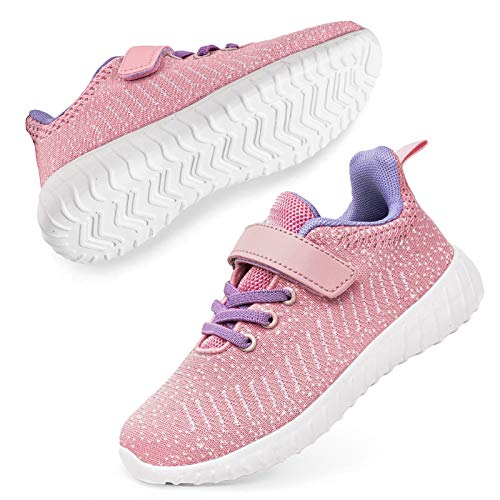 SOBASO Kids Tennis Shoes Boys Sneakers Athletic Running Shoes for Girls Pink 12 Little Kid