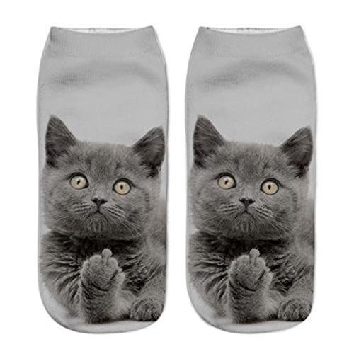 Chinget Damen Mädchen Niedlich Katze Gedruckt Socken Sport Strümpfe (G)