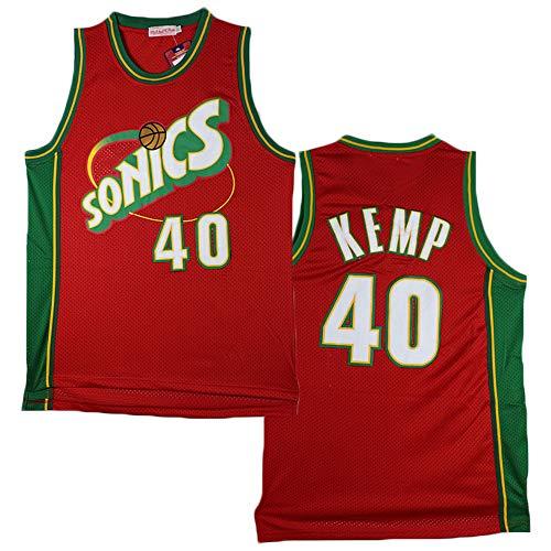 LITBIT Baloncesto Masculino NBA Jersey Vintage Seattle Supersonics 40# Kemp Transpirable Quick Secking Mangos sin Mangas Vestima Top para los Deportes,Rojo,L