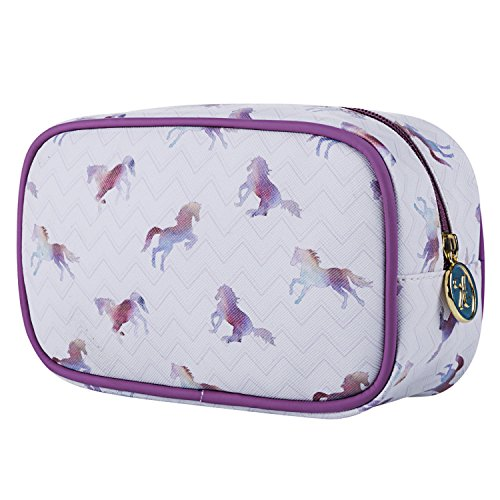 TaylorHe Make-up Bag Waterdichte make-up tas make-up tas toilettas portemonnee tas meerkleurig tas met patronen Regenboogpaarden, paars