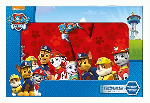 POS 30000 - Schürzen Set Paw Patrol, bestehend aus Schürze, Handschuh und Topflappen, ideal für Kinder, kleine Helferlein und Fans der erfolgreichen TV-Serie