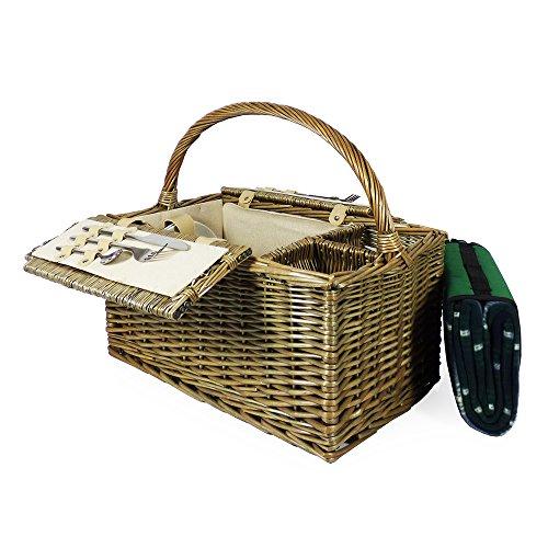 Cesta de picnic con tapa, diseño de 2 personas, con tartán verde, ideal como regalo para el día del padre, día de la madre, cumpleaños, San Valentín, boda, aniversario, negocios, empresa, él o ella
