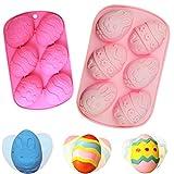 BESTZY 2PCS Molde de silicona con forma de huevo de Pascua para tartas Moldes del Pastel del silicón de jabón de cake de Chocolate