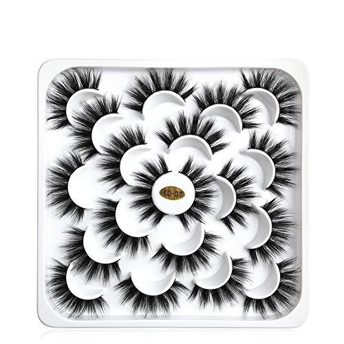 Falsche Wimpern, GLAMADOR Professionale Künstliche Wimpern, 3D/5D Wiederverwendbare Wimpern, Natürliche Wimpern schwarz für Make UP, Schnell und Einfach, Gutes Geschenk 5D-07