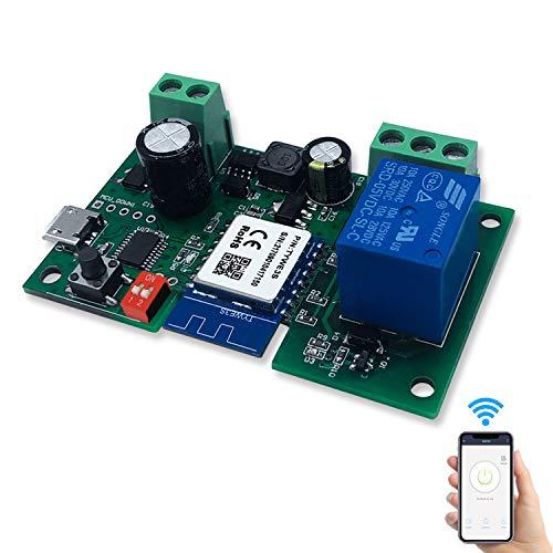Aggiornamento 2020 1 Canale Intelligente Pulsante Sonoff Relè Wifi DC5V/12V Wireless Universale Modulo Telecomando Interruttore Timer per Automazione Cancelli Compatibile con Alexa, Smart Life App