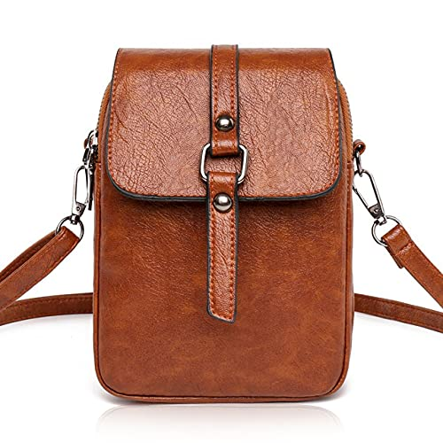 Best Leather Cell Phone Crossbody Purse for Women Small Crossbody Phone Bag Iphone Wallet Pouch with Strap Shoulder Handbag