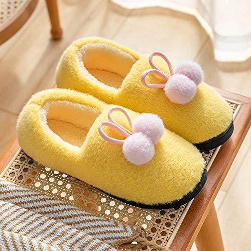 Nwarmsouth Nuevas Zapatillas Slip On Mules para Hombre,Zapatillas de Felpa cálidas, Bolso de casa con Zapatos de algodón de Felpa-Yellow_35-36,Peluche Zapatos Memory Foam