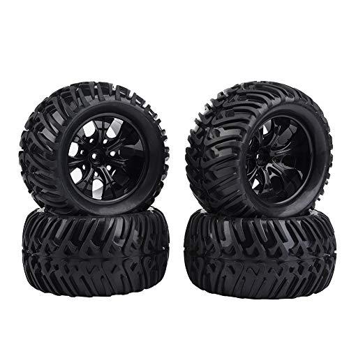 Dekaim RC-Reifen, 4-teilige Y-förmige Reifenmuster-Gummireifen mit Naben für RC-Truck-Autos im Maßstab 1:10(7 Holes)