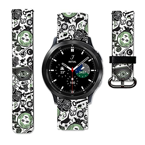 Witch Halloween Leather Strap compatible with Samsung Galaxy Watch4 Active 2 40mm 44mm Galaxy Watch4 Classic Active 2 42mm 46mm Galaxy Watch 3 Active 2 40mm 41mm 42mm 45mm 46mm Gear S3 S2 and other watches 20 and 22mm wristband straps leather bands 07 (22 mm)