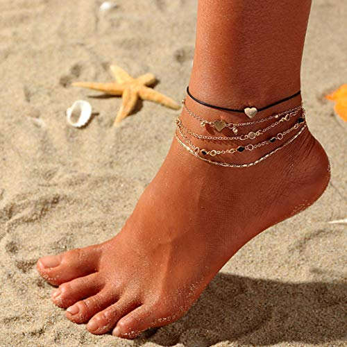 Ushiny Boho Layering Anklet Heart Ankle Bracelet Gold Beaded Foot Accessories for Women and Girls(5PCS)