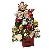 PRETYZOOOM Albero di Natale artificiale con illuminazione, 50 cm, piccolo albero di Natale decorato, senza batteria, decorazione per la scrivania, Natale, festival