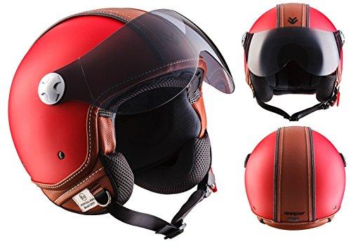 ARMOR Helmets AV-84 Jet-Helm Motorrad, ECE Visier Schnellverschluss Tasche, M (57-58cm), Rot/Vintage Deluxe Rot
