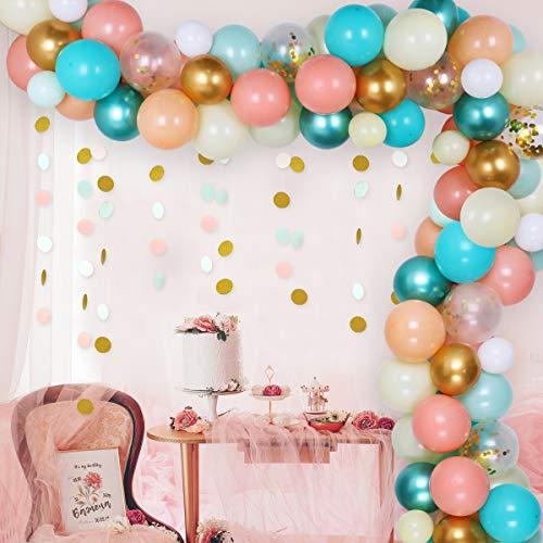 JOYMEMO Menta Verde Oro Melocotón Globo Guirnalda Kit Boda Baby Shower Aniversario Graduación Fondo de cumpleaños con 110 Globos, Decoraciones de Espuma de mar cromada