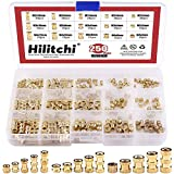 Hilitchi 250-Pcs M2 / M3 /M4 Female Thread Brass Knurled Threaded Insert Embedment Nuts As...