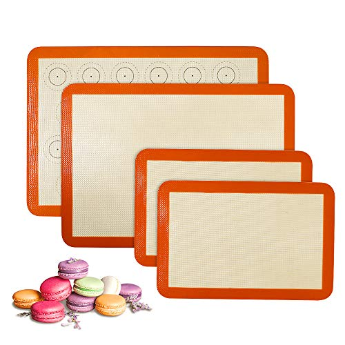 Silicone Baking Mat Set of 4(2 Half and 2 Quarter) Sheet Non Stick Reusable Silicone Pastry Baking Mat for Bake Pans & Rolling - Macaron/Pastry/Cookie/Bun/Bread Making Counter Mat, Dough Rolling Mat