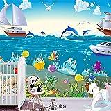 Mundo submarino habitación temática del océano mural personalizado acuario estilo de dibujos animados bebé piscina papel tapiz papel tapiz tela