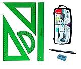 PACK LOTE Juego técnico Verde Faber Castell 65021 escuadra, cartabón, regla y semicírculo + 1 unidad de Bigotera Compás Mape Precision System 291010 (Colores Surtidos) con Adaptador + REGALO