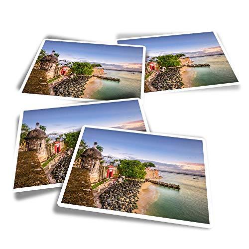Pegatinas rectangulares de vinilo (juego de 4) – San Juan Puerto Rico Caribbean Travel Divertidos calcomanías para portátiles, tabletas, equipaje, reserva de chatarra, frigoríficos #24139