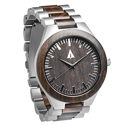 Treehut Men's Ebony Wooden Silver Stainless Steel Watch Quartz Analog with Qu.