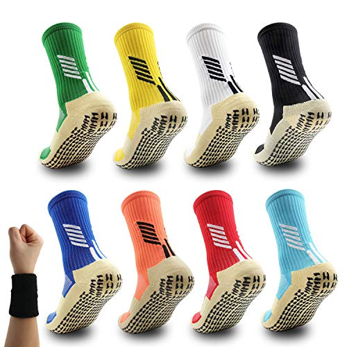 Dee Plus Rutschfeste Fußball Socken Basketballsocken/Yoga Socken Noppen Sohle Damen & Herren Socken Anti Rutsch Sportsocken Grip Fußballsocken Tape Fussball Socken (Schwarz Weiß Rot Gelb Blau Grün)