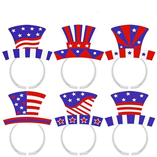 ABOOFAN 4 de Julio Diadema Patritica Da de La Independencia Boppers Bandera Americana Diademas Sombrero Alto Diademas para La Decoracin del Partido del Da de La Independencia 12