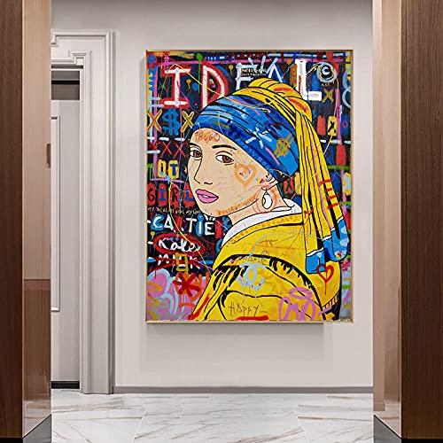 LLXXD Carteles de Graffiti Modernos Chica con un Pendiente de Perla en la Pared Arte en Lienzo Cuadros de Pintura Impresos para la Sala de Estar Decoración para el hogar 40x50cm (sin Marco)