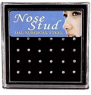Niome 24Pcs Crystal Rhinestone Nose Ring Bone Stud Bar Surgical Steel Piercing Jewelry