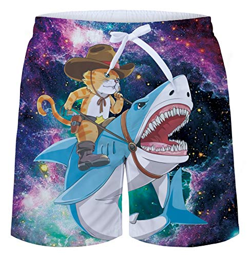 uideazone Men's Bathing Suit Printed Galaxy Space Cat Shark Summer Holiday Beach Shorts for Beach Casual Style