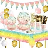 159pcs Gradient Party Supplies Juego de vajilla Platos de papel Tazas Servilletas Pajitas de papel Mantel y globos de fiesta para cumpleaños, bodas, fiestas de Navidad (20 invitados)