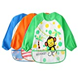 Toddler Waterproof Sleeved Bib Unisex Infant - Multicolor Cartoon Animal Pattern(6-36 Monate)