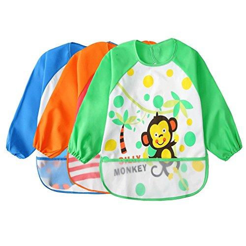 Toddler Waterproof Sleeved Bib Unisex Infant - Multicolor Cartoon Animal Pattern(6-36 Monate)