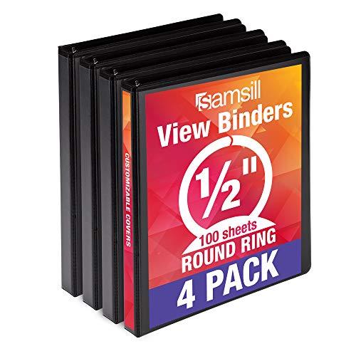 Samsill Economy 3 Ring Binder Organizer, .5 Inch Round Ring Binder, Customizable Clear View Cover, Bulk Binder 4 Pack, Black, MP48510