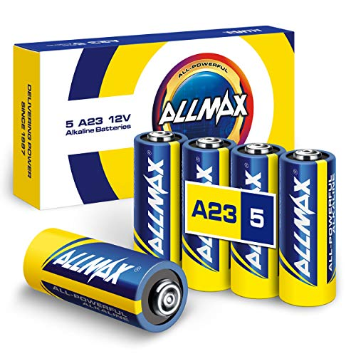 Allmax A23 12V Maximum Power Alkaline Batteries (5 Count) – Ultra Long-Lasting 12 Volt 23A Battery – Leak-Proof, Zero Mercury, Device Compatible – Powered by EnergyCircle Technology