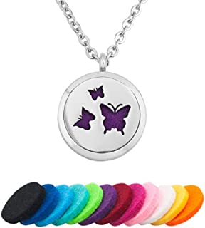 Aromatherapy Essential Oil Diffuser Necklace Love Butterfly Animal Locket Pendant Women Girl Gift