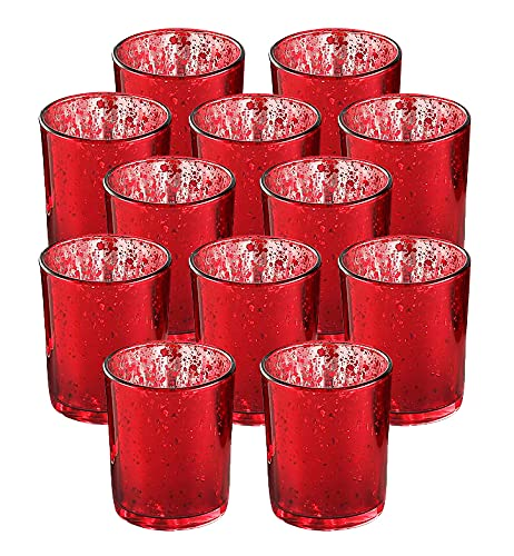 Votive Candle Holder-Set of 12 Wedding Centerpieces for Table, Mercury Glass Tealight Candle Holders Bulk for Birthday  Party  Home Decoration (Red)
