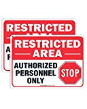 (2 pack) Restricted Area Sign Authorized Personnel Only, Do Not Enter Sign, 10 x 7 Inches .40 Rust Free Aluminum , UV Protected, Weather Resistant, Waterproof, Durable Ink,Easy To Mount