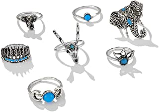 JczR.Y 8 Pcs/Set Vintage Oval Opal Rings for Women Bohemian Natural Turquoise Stone Open Leaf Finger Rings for Women¡