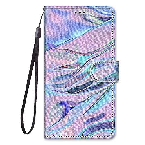 Miagon Full Body Flip PU Leder Schutzhülle für Xiaomi Redmi Note 9 Pro,Bunt Muster Hülle Brieftasche Case Cover Ständer mit Kartenfächer,Welle