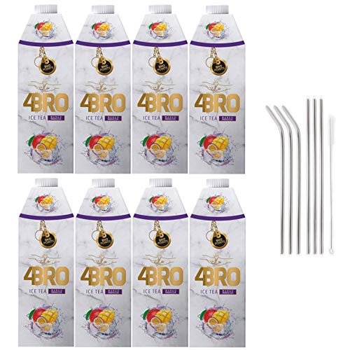 SET 4BRO Ice Tea Eistee mit Gratis Genussleben Alu Strohhalm (Mango Maracuja, 8x 1000ml)