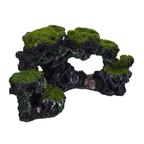 Relaxdays Aquarium Decoratieve steen, natuur-look, decoratief, verborgen, rotshokken, aquaria-accessoires H x B 8,5 x 17 cm, zwart-groen, 1 stuk