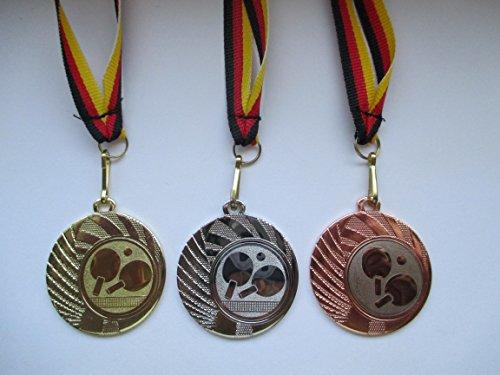 Fanshop Lünen Medaillen Set - aus Stahl 40mm - Gold Silber Bronze - Tischtennis - TT -Medaillenset - Emblem 25mm - mit Band-Emblem - (e262) -