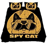 Juego de funda de edredón de 3 piezas, diseño de gato espía, con cierre de cremallera, para mujer, hombre, ropa de cama
