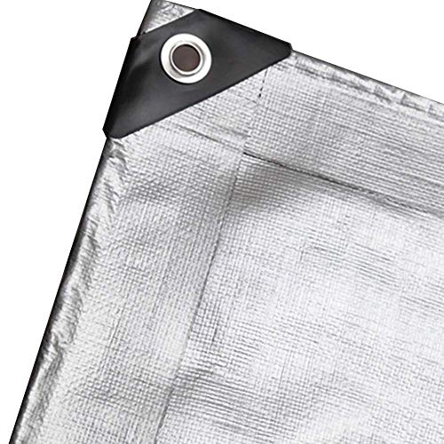 Jonist Tarp Silver Coating Tarpaulin with Eyelets, Outdoor Thermal Insulation Sun Shade Waterproof Rain Groundsheet Cover, 200g/m²